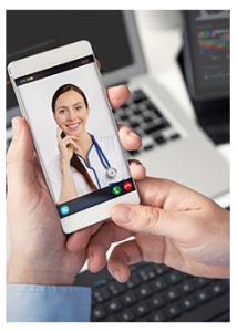Person using telehealth services via cell phone